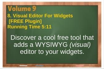 PLR 4 WordPress Vol 9 Video 8 Visual Editor For Widgets