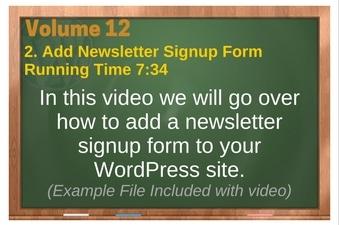 PLR 4 WordPress Vol 12 Video 2 Add Newsletter Signup Form