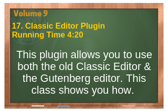 plr4wp Vol 9 video 17 Classic Editor Plugin and how to use it