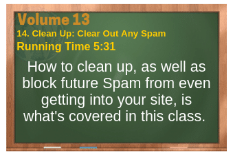 PLR for WordPress Volume 13 Video 14. Clean Up: Clear Out Any Spam