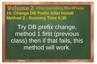 After Installing WordPress video 10. Change DB Prefix After Install-Method 2