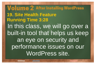Before Installing WordPress video 19. Site Health Feature