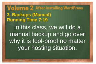 After Installing WordPress video 3. Backups (Manual)