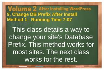 After Installing WordPress video 9. Change DB Prefix After Install-Method 1