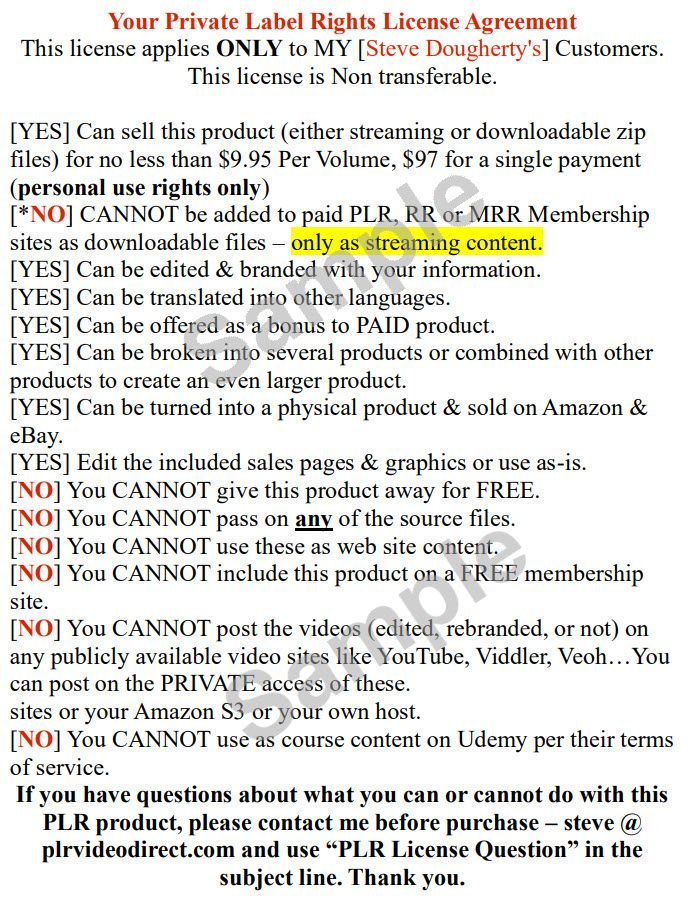 PLR For WordPress Sample License Terms Sheet